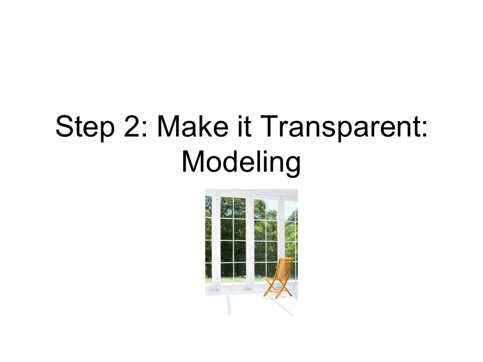 Step 2: Make it Transparent: Modeling