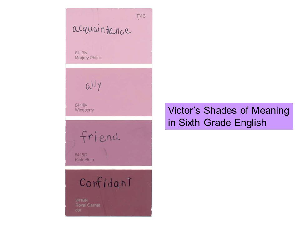 Victor's Shades of Meaning in Sixth Grade English