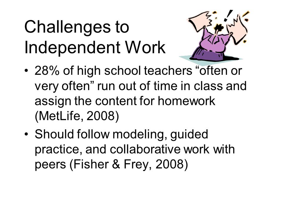 """Challenges to Independent Work 28% of high school teachers """"often or very often"""" run out of time in class and assign the content for homework (MetLife"""