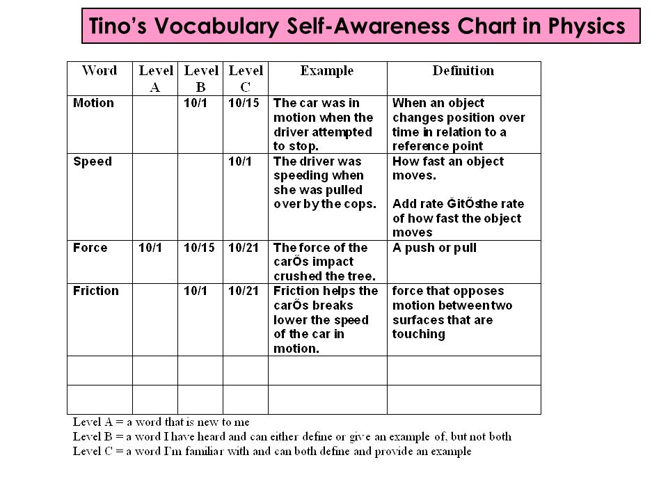 Tino's Vocabulary Self-Awareness Chart in Physics