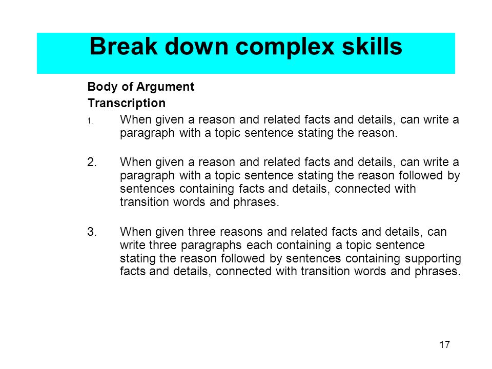 17 Break down complex skills Body of Argument Transcription 1.
