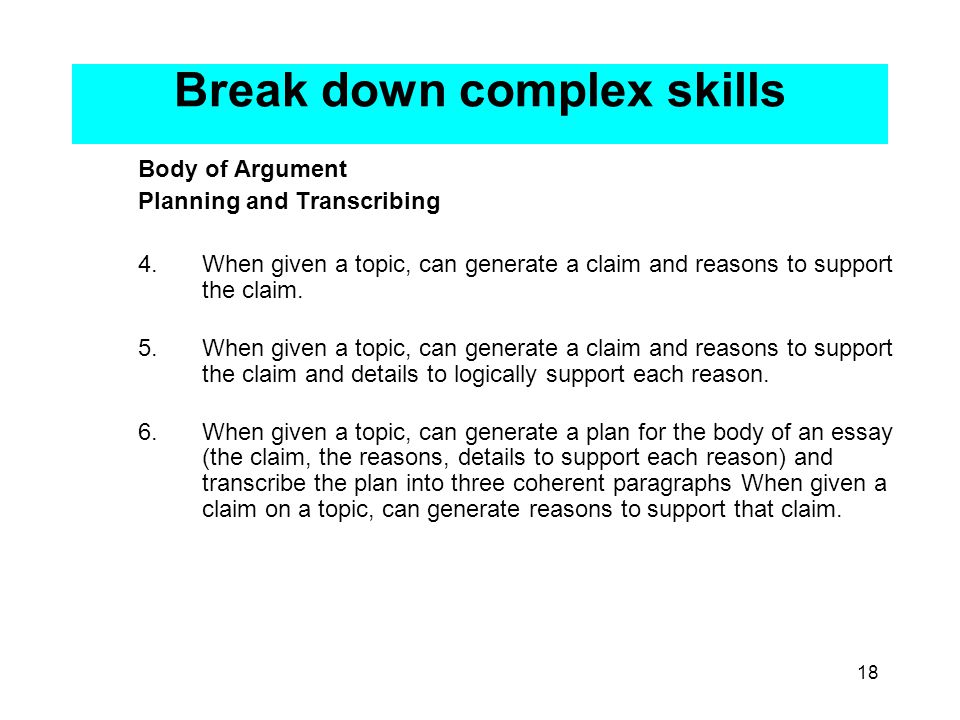 18 Break down complex skills Body of Argument Planning and Transcribing 4.When given a topic, can generate a claim and reasons to support the claim.