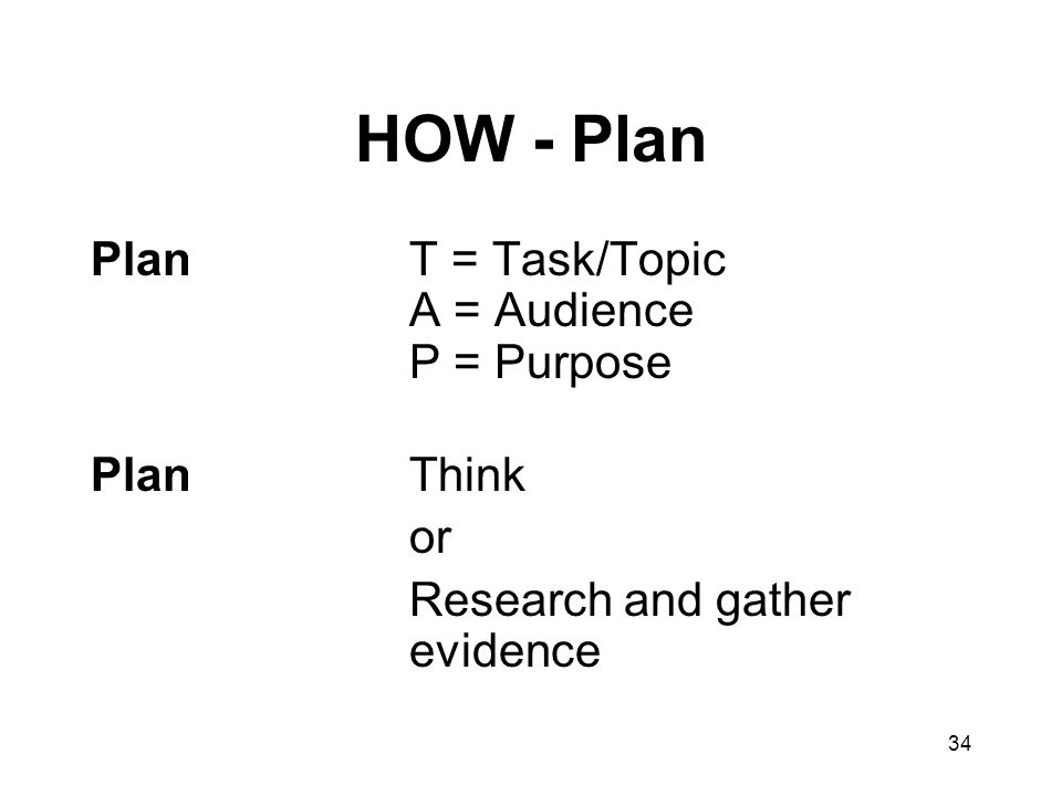 34 HOW - Plan PlanT = Task/Topic A = Audience P = Purpose PlanThink or Research and gather evidence