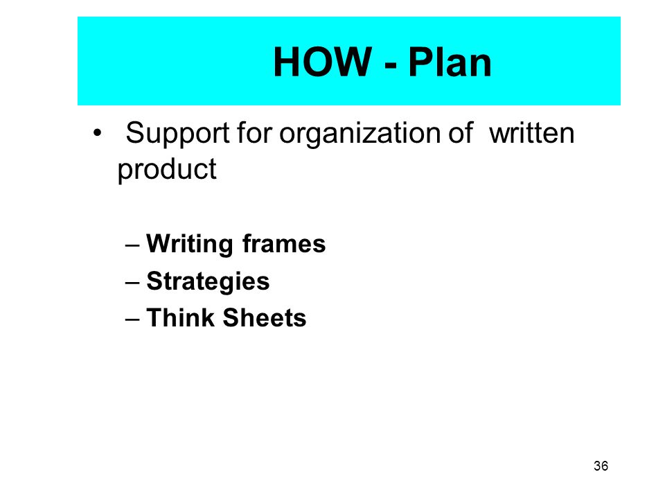 36 HOW - Plan Support for organization of written product –Writing frames –Strategies –Think Sheets