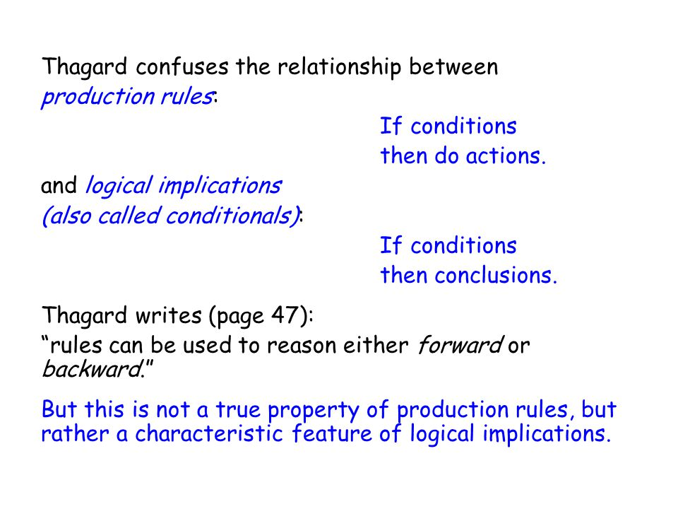 Thagard confuses the relationship between production rules: If conditions then do actions.