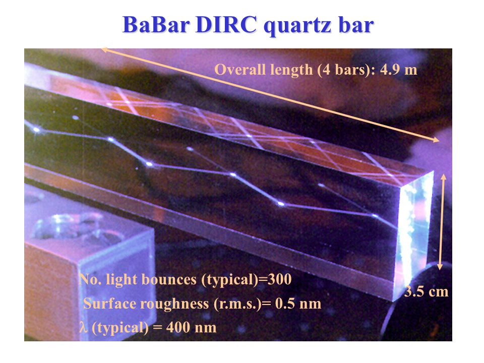 BaBar DIRC quartz bar 3.5 cm Overall length (4 bars): 4.9 m No.