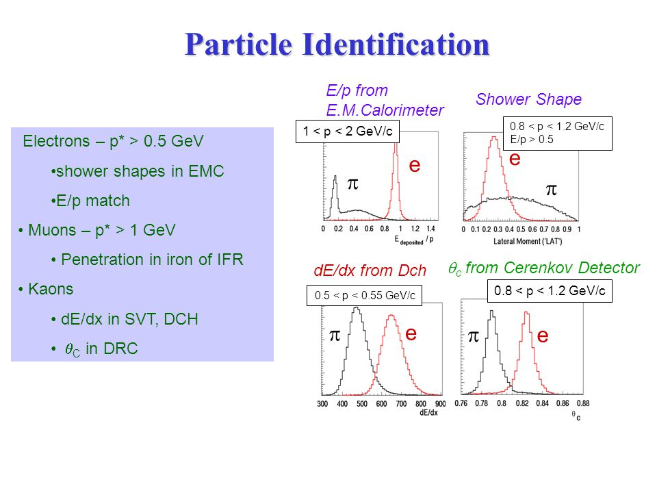 Particle Identification Electrons – p* > 0.5 GeV shower shapes in EMC E/p match Muons – p* > 1 GeV Penetration in iron of IFR Kaons dE/dx in SVT, DCH  C in DRC E/p from E.M.Calorimeter Shower Shape e e   1 < p < 2 GeV/c 0.8 < p < 1.2 GeV/c E/p > 0.5 e  e   c from Cerenkov Detector e  0.5 < p < 0.55 GeV/c dE/dx from Dch 0.8 < p < 1.2 GeV/c