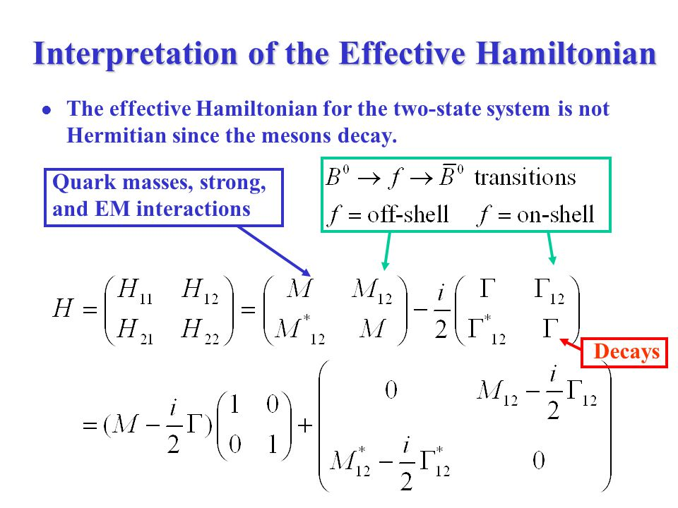 Interpretation of the Effective Hamiltonian The effective Hamiltonian for the two-state system is not Hermitian since the mesons decay.