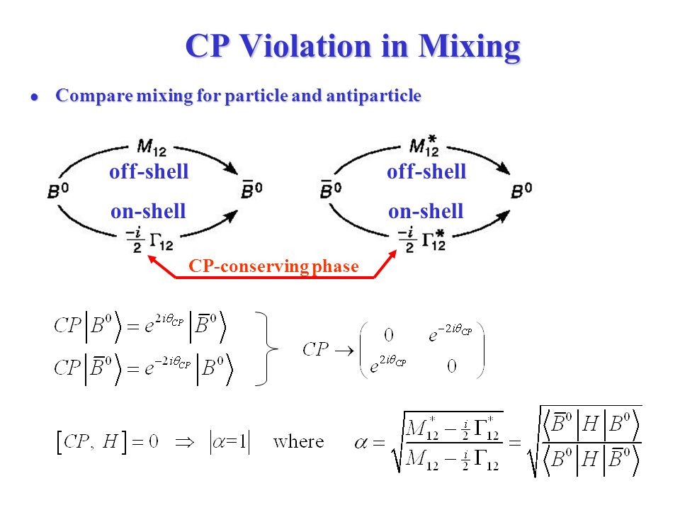 CP Violation in Mixing CP Violation in Mixing Compare mixing for particle and antiparticle Compare mixing for particle and antiparticle off-shell on-shell CP-conserving phase