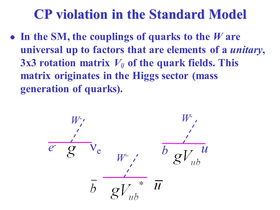 CP violation in the Standard Model In the SM, the couplings of quarks to the W are universal up to factors that are elements of a unitary, 3x3 rotation matrix V ij of the quark fields.