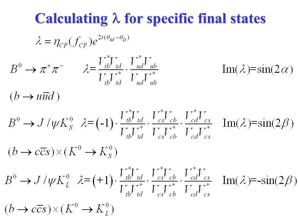 Calculating  for specific final states
