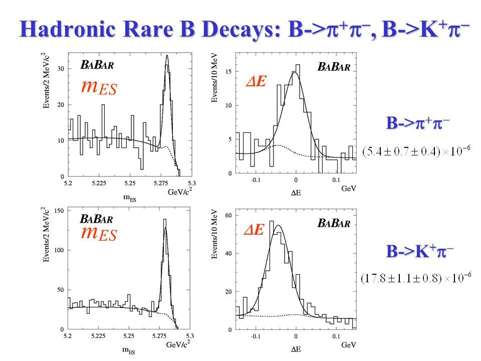 Hadronic Rare B Decays: B->    , B->K +   B->     B->K +   m ES EE EE