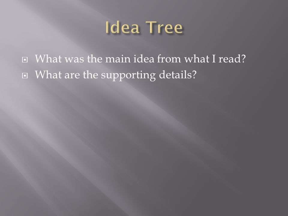  What was the main idea from what I read?  What are the supporting details?