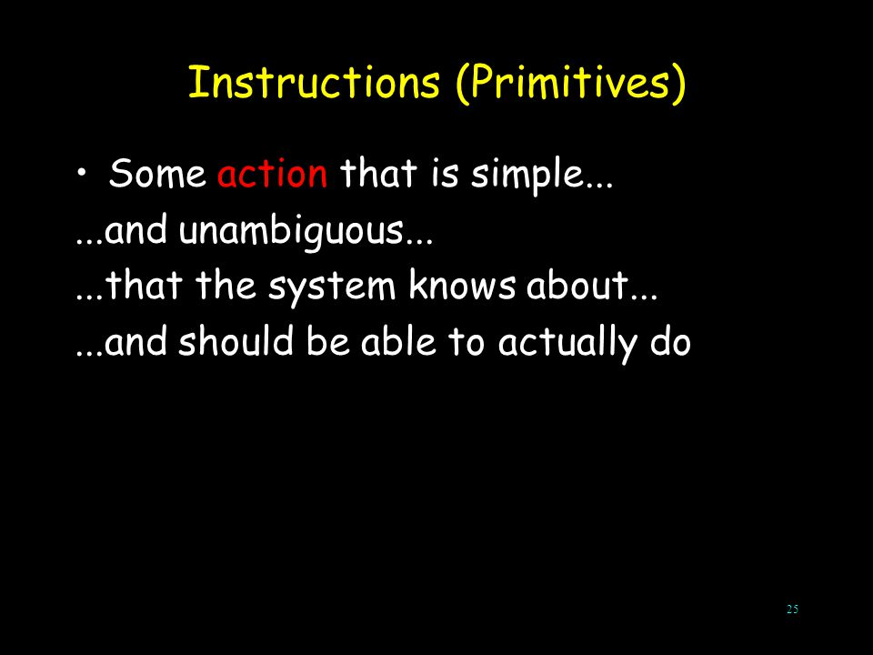 25 Instructions (Primitives) Some action that is simple......and unambiguous......that the system knows about......and should be able to actually do