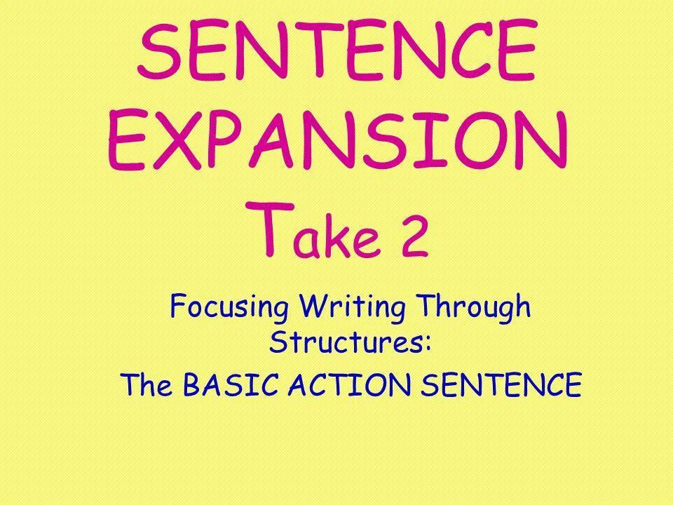SENTENCE EXPANSION T ake 2 Focusing Writing Through Structures: The BASIC ACTION SENTENCE