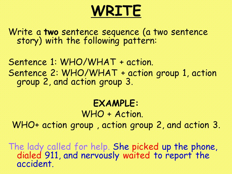 WRITE Write a two sentence sequence (a two sentence story) with the following pattern: Sentence 1: WHO/WHAT + action.