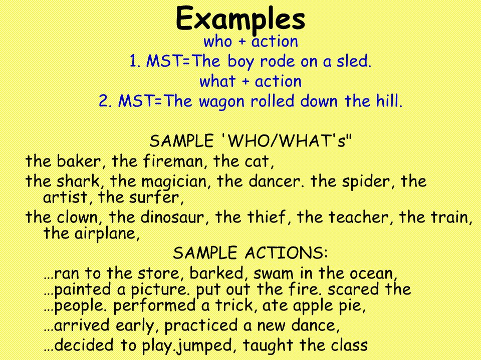 Examples who + action 1. MST=The boy rode on a sled.