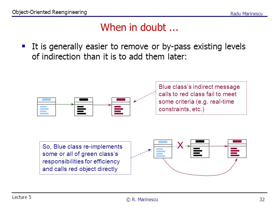 32 Object-Oriented Reengineering © R. Marinescu Lecture 5 Radu Marinescu When in doubt...  It is generally easier to remove or by-pass existing level