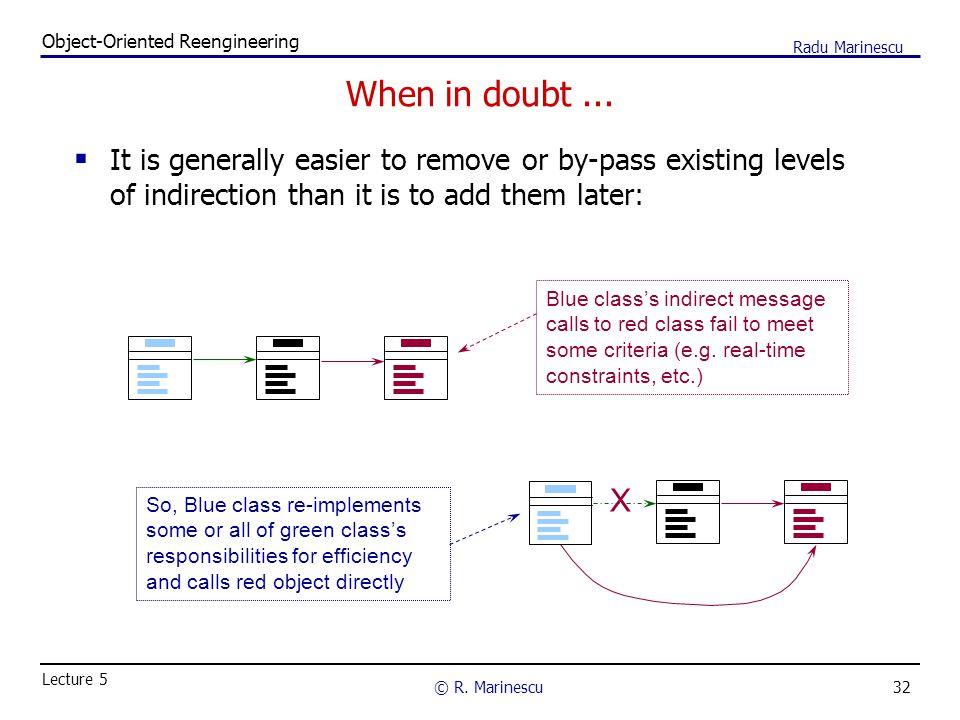 32 Object-Oriented Reengineering © R.Marinescu Lecture 5 Radu Marinescu When in doubt...