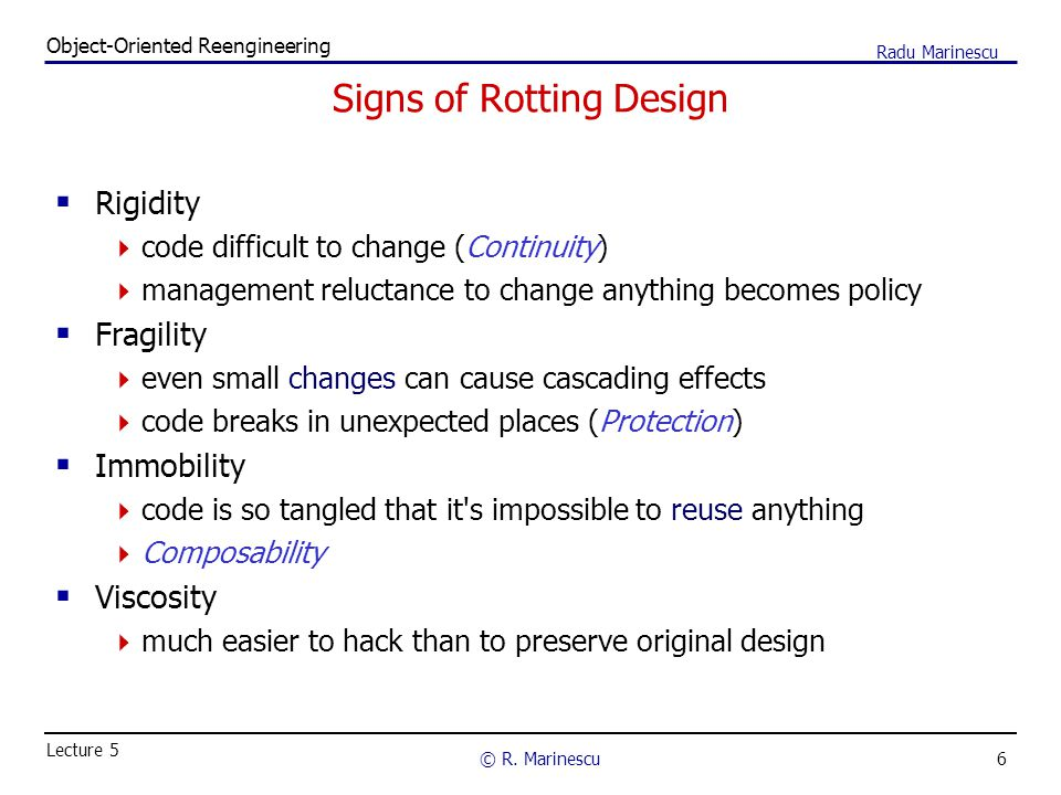 6 Object-Oriented Reengineering © R.