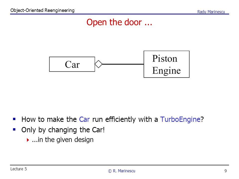 9 Object-Oriented Reengineering © R.Marinescu Lecture 5 Radu Marinescu Open the door...