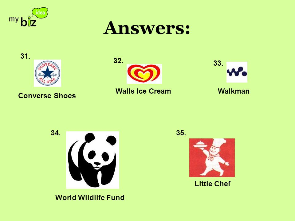 Answers: 31. 32. 33. 34.35. Converse Shoes Walls Ice CreamWalkman World Wildlife Fund Little Chef