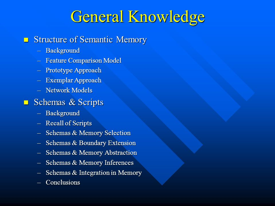 General Knowledge Structure of Semantic Memory Structure of Semantic Memory –Background –Feature Comparison Model –Prototype Approach –Exemplar Approa