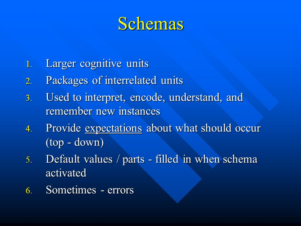 Schemas 1. Larger cognitive units 2. Packages of interrelated units 3. Used to interpret, encode, understand, and remember new instances 4. Provide ex