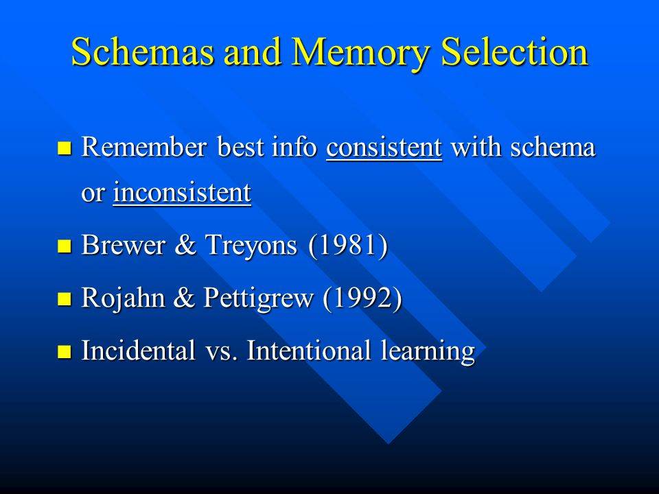 Schemas and Memory Selection Remember best info consistent with schema or inconsistent Remember best info consistent with schema or inconsistent Brewe
