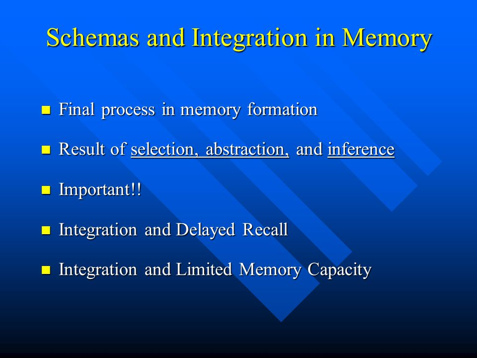 Schemas and Integration in Memory Final process in memory formation Final process in memory formation Result of selection, abstraction, and inference
