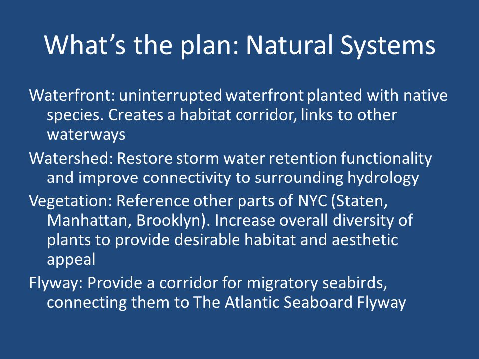Transportation Network Provide transportation for Staten Island, and connect the park to the community Create new water links to NYC, potentially rail links Connection to existing trails, greenways and other surface paths