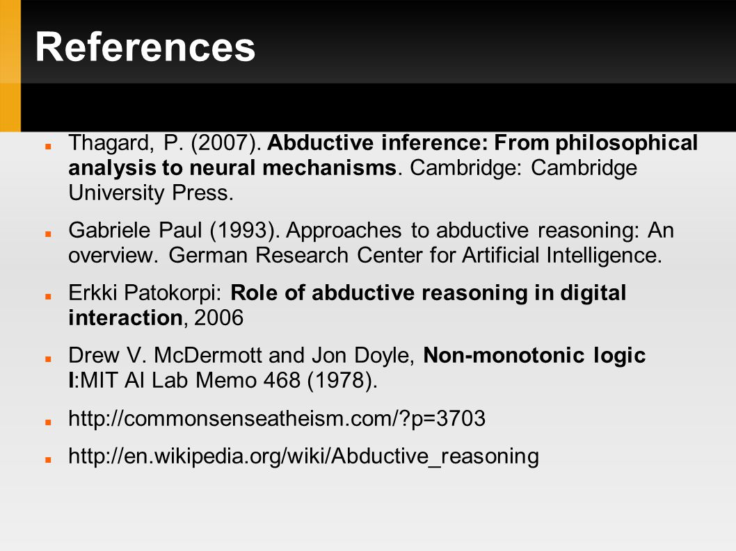 References Thagard, P. (2007).