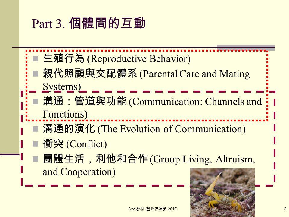 Ayo 教材 ( 動物行為學 2010) 2 Part 3. 個體間的互動 生殖行為 (Reproductive Behavior) 親代照顧與交配體系 (Parental Care and Mating Systems) 溝通:管道與功能 (Communication: Channels and