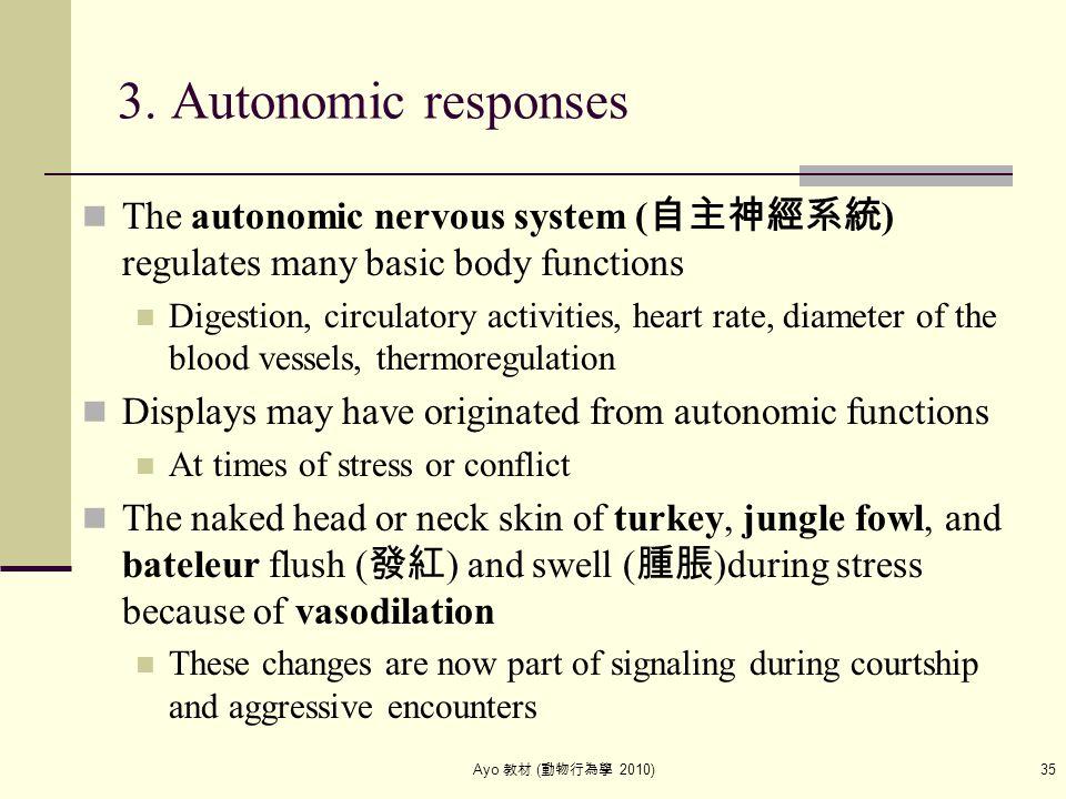 Ayo 教材 ( 動物行為學 2010) 35 3. Autonomic responses The autonomic nervous system ( 自主神經系統 ) regulates many basic body functions Digestion, circulatory acti