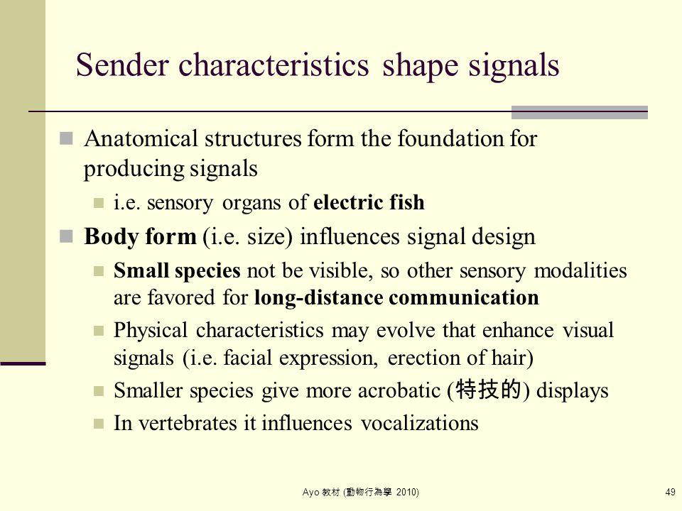 Ayo 教材 ( 動物行為學 2010) 49 Sender characteristics shape signals Anatomical structures form the foundation for producing signals i.e. sensory organs of el