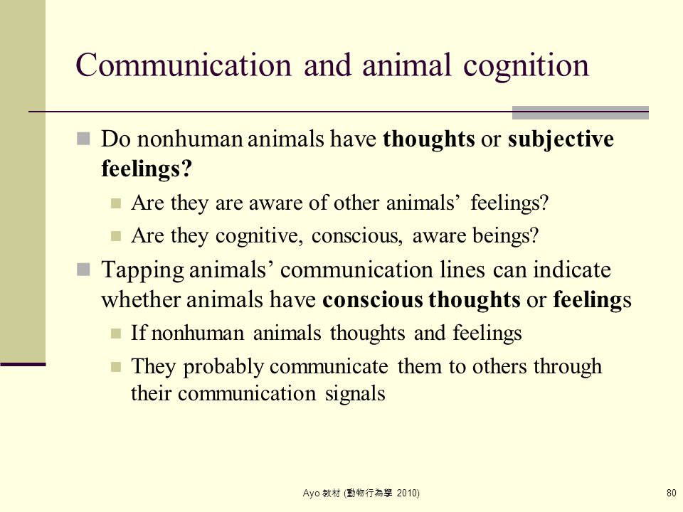 Ayo 教材 ( 動物行為學 2010) 80 Communication and animal cognition Do nonhuman animals have thoughts or subjective feelings? Are they are aware of other anima
