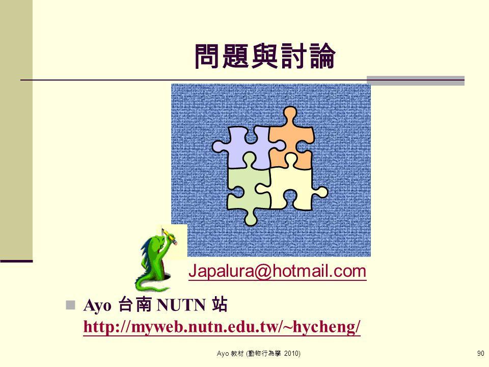 Ayo 教材 ( 動物行為學 2010) 90 問題與討論 Japalura@hotmail.com Ayo 台南 NUTN 站 http://myweb.nutn.edu.tw/~hycheng/ http://myweb.nutn.edu.tw/~hycheng/