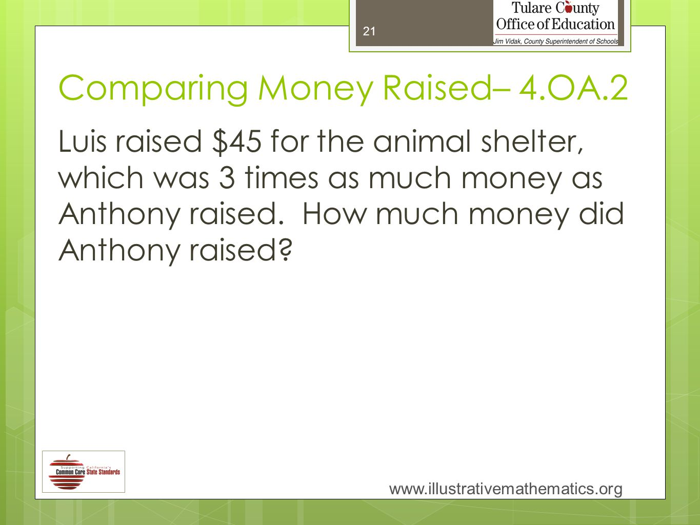 Comparing Money Raised– 4.OA.2 Luis raised $45 for the animal shelter, which was 3 times as much money as Anthony raised.