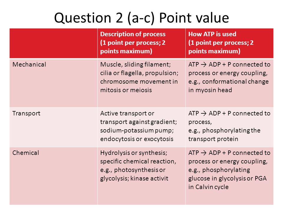 Question 2 (a-c) Point value Description of process (1 point per process; 2 points maximum) How ATP is used (1 point per process; 2 points maximum) Me