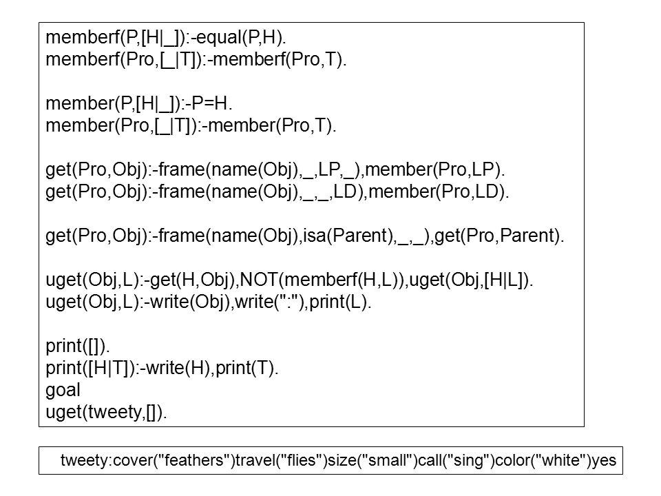 memberf(P,[H|_]):-equal(P,H).memberf(Pro,[_|T]):-memberf(Pro,T).
