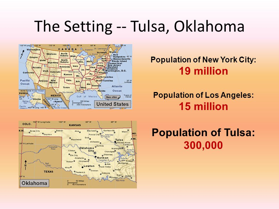 Population of New York City: 19 million Population of Los Angeles: 15 million Population of Tulsa: 300,000 The Setting -- Tulsa, Oklahoma
