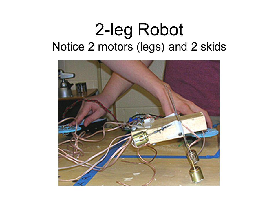 2-leg Robot Notice 2 motors (legs) and 2 skids