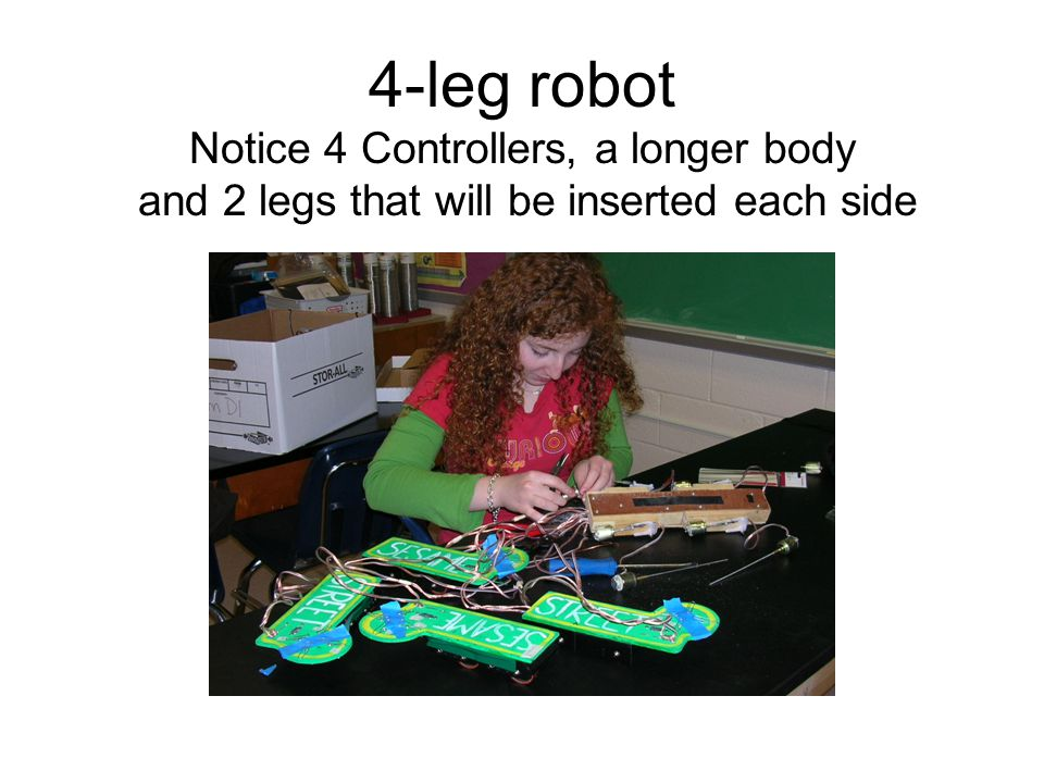 4-leg robot Notice 4 Controllers, a longer body and 2 legs that will be inserted each side