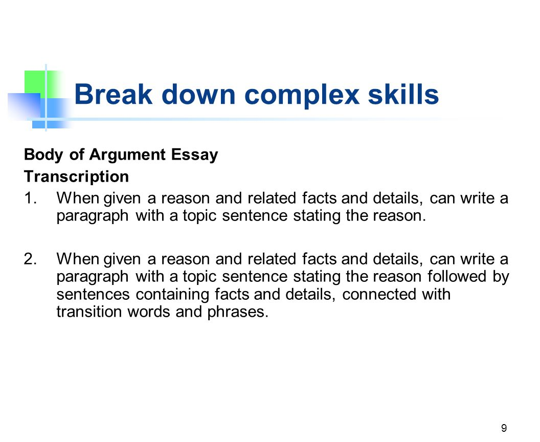 Break down complex skills Body of Argument Essay Planning and Transcription 3.When given a position on a topic, can generate reasons to support that position.