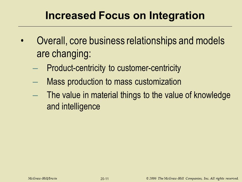 McGraw-Hill/Irwin © 2006 The McGraw-Hill Companies, Inc. All rights reserved. 20-11 Increased Focus on Integration Overall, core business relationship