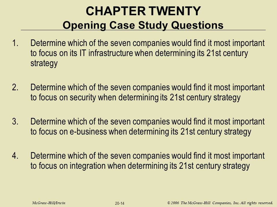 McGraw-Hill/Irwin © 2006 The McGraw-Hill Companies, Inc. All rights reserved. 20-14 CHAPTER TWENTY Opening Case Study Questions 1.Determine which of t