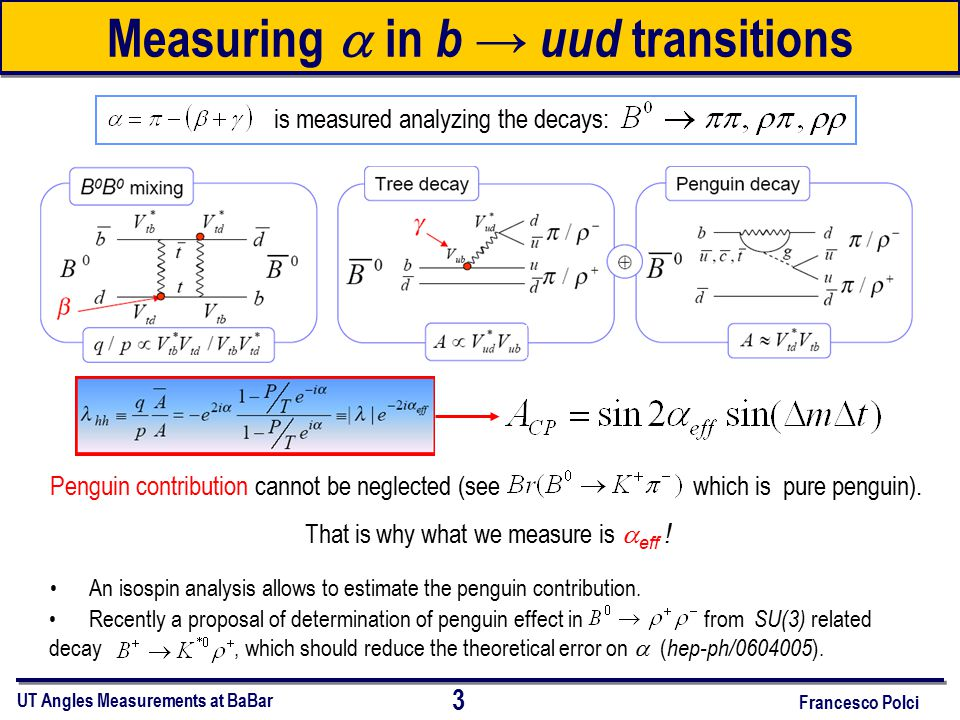 Measuring  in b → uud transitions Penguin contribution cannot be neglected (see which is pure penguin).