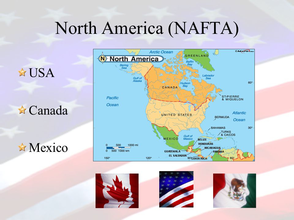 North America (NAFTA) USA Canada Mexico