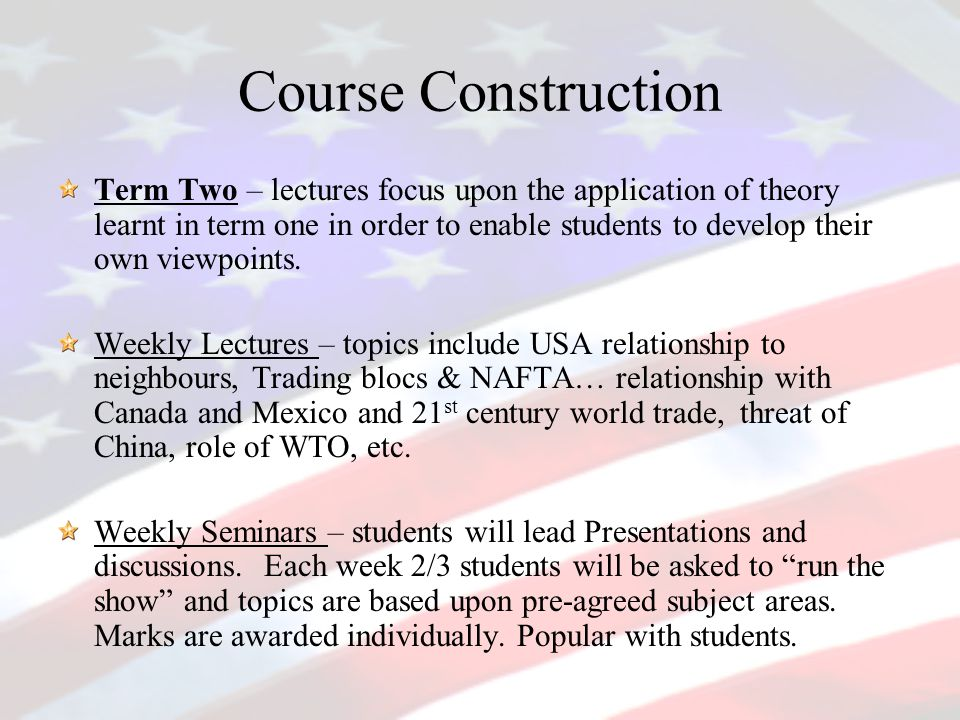 Course Construction Term Two – lectures focus upon the application of theory learnt in term one in order to enable students to develop their own viewpoints.