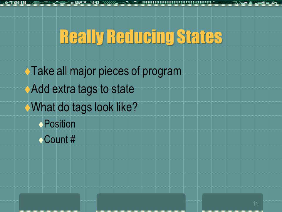 14 Really Reducing States  Take all major pieces of program  Add extra tags to state  What do tags look like.